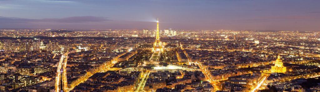 Eiffelturm, Paris bei Nacht Panorama