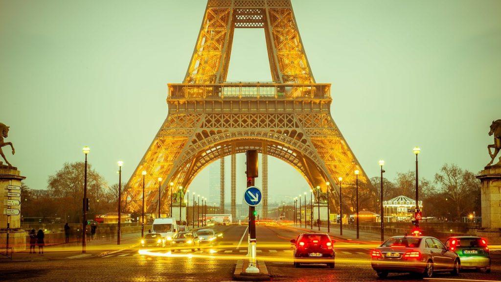 Eiffelturm bei Nacht von Trocadero aus