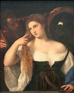 Frau im Spiegel, Tizian, Louvre, Paris